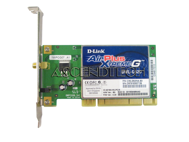 D-link dwl-g520 airplus xtreme g wireless pci adapter specs cnet.