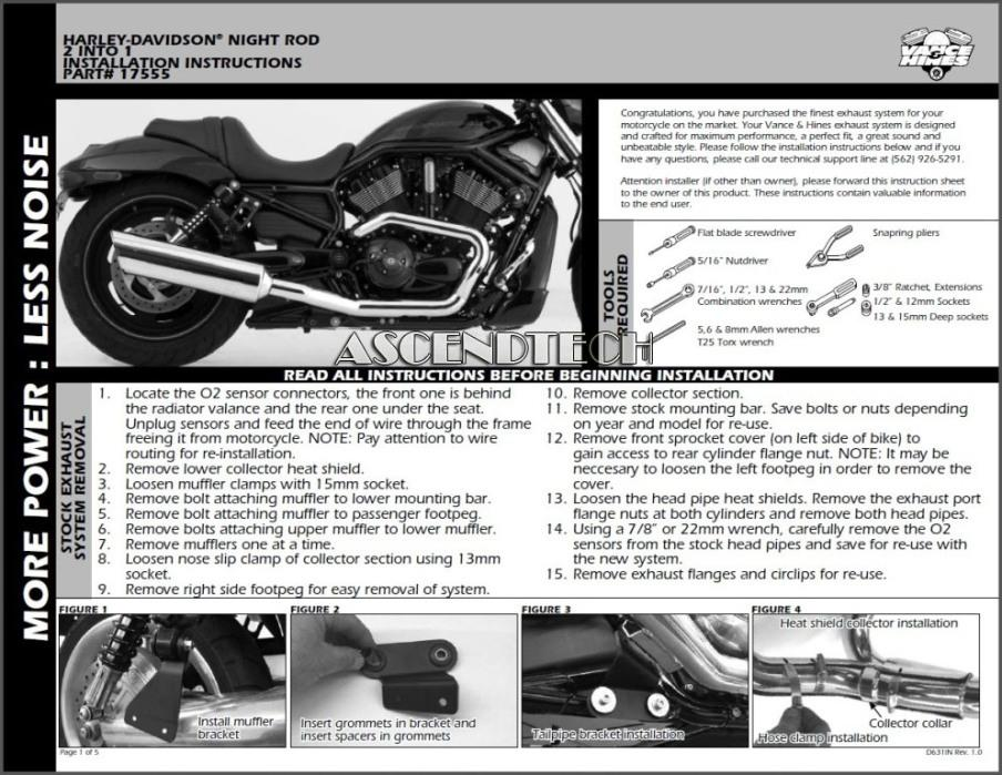 vance and hines installation instructions